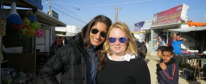 Anita (left) and Weber Shandwick's Lucy Jenkins on site in Jordan, February 2015.